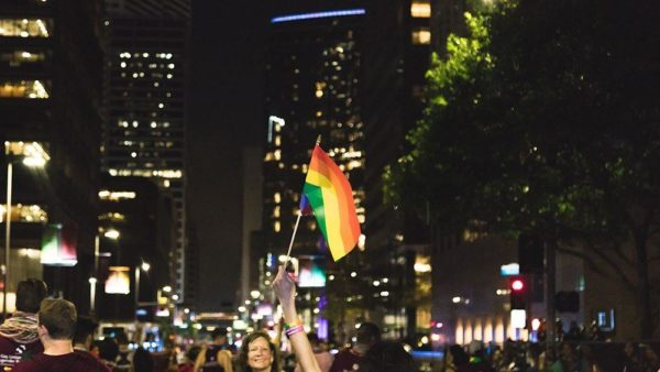 Dozens of Aggies took part in Pride Houston events, including the Pride Parade.