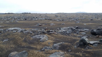 An example of terrain showing fluvial sorting in Iceland.