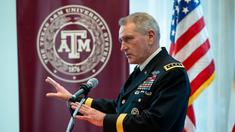 Army Futures Command Gen. John Murray met with Texas A&M University and System officials this week while visiting College Station. Mark Guerrero/Texas A&M Marketing & Communications)