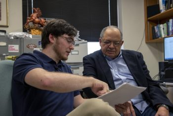 Tucker Folsom (left) is described by his mentor, Texas A&M Distinguished Professor of Chemistry Donald Darensbourg, as among the top few students he's supervised during his nearly five-decade career in chemistry. (Texas A&M College of Science)