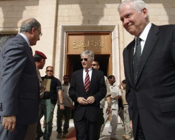 US Defense Secretary Robert Gates (R) and US Ambassador to Iraq Ryan Crocker (C) exit the Iraqi Defence Ministry after meeting with Iraqi Minister of Defence Abdel Qader al-Obeidi at the Iraqi Defence Ministry, April 20, 2007, in Baghdad, Iraq. (Mustafa Ahmed-Pool/Getty Images)