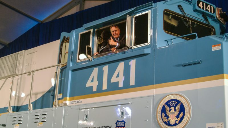 George and Barbara Bush inside the cab of UP locomotive No. 4141 at it's 2005 unveiling. (Union Pacific)