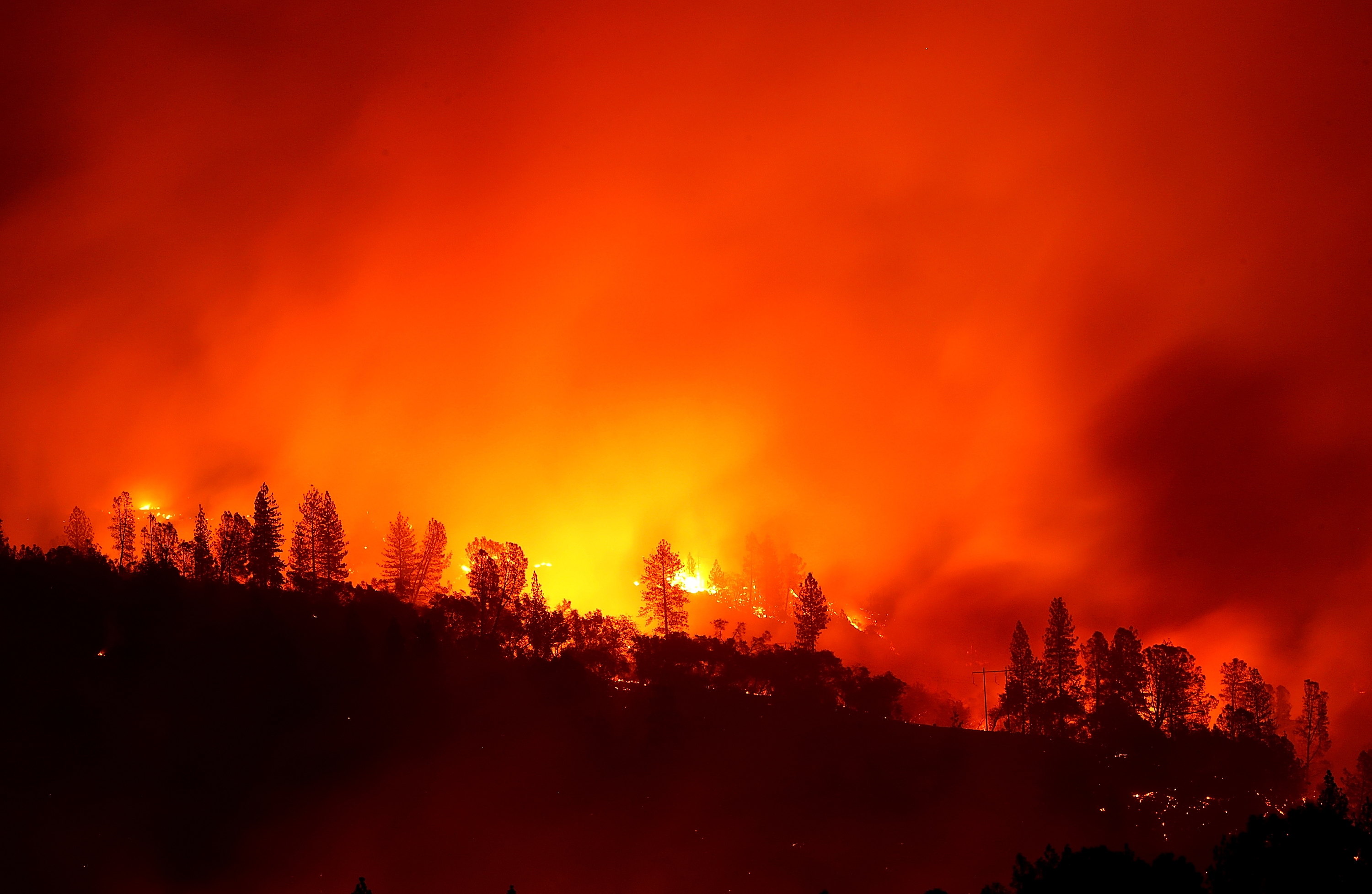 The Camp Fire burns in the hills on November 11, 2018 near Oroville, California.