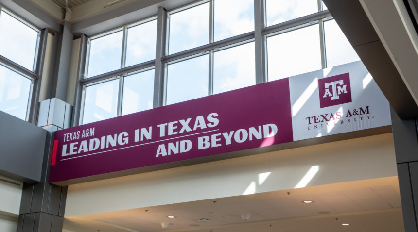 Texas A&M's takeover of Austin-Bergstrom Airport features more than 70 digital and print ads and runs through March 24.