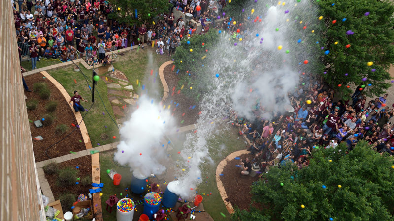 Don't miss the Texas-sized finale -- the five-barrel depth charge -- at 3:30 p.m. on the south side of the Mitchell Physics Building.