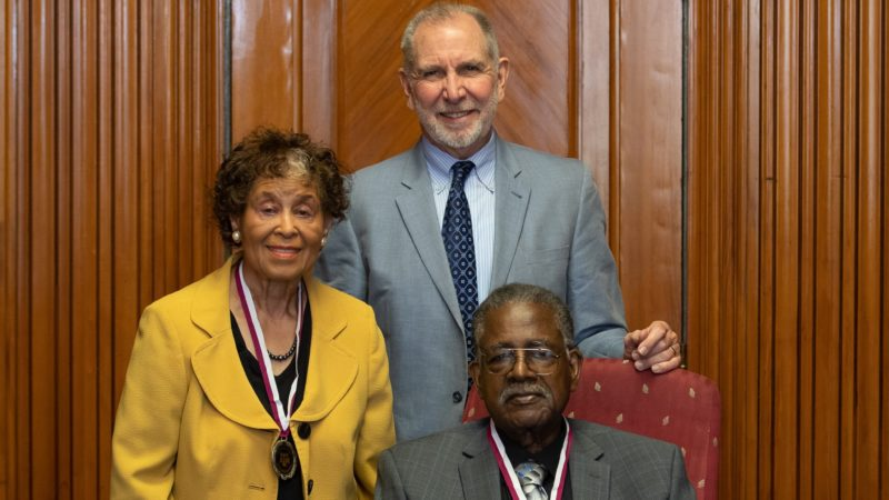 Katie Francis Johnson, Texas A&M President Michael K. Young and Leroy Sterling.