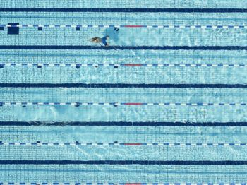 Aerial shot of a person swimming laps in a Swimming Pool