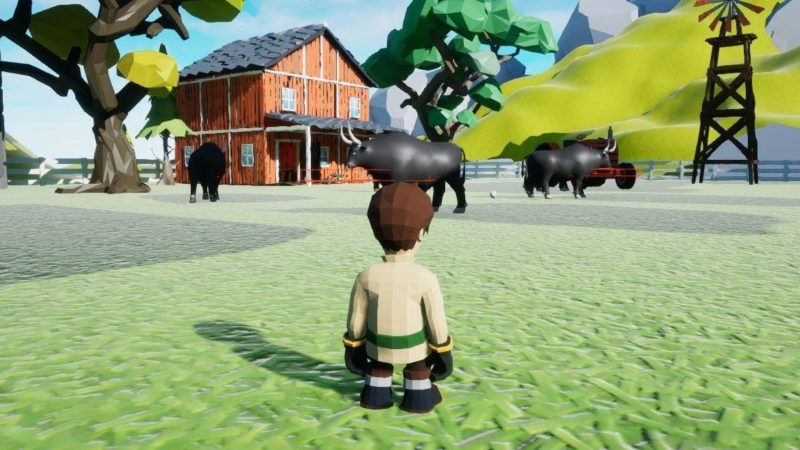 An image from the CowSim game