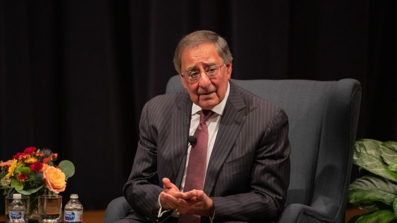 Leon Panetta sits on a stage at the Annenberg Presidential Conference Center
