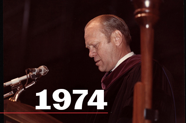 President Gerald R. Ford, then vice president, delivers his commencement address to graduates in G. Rollie White Coliseum in 1974.