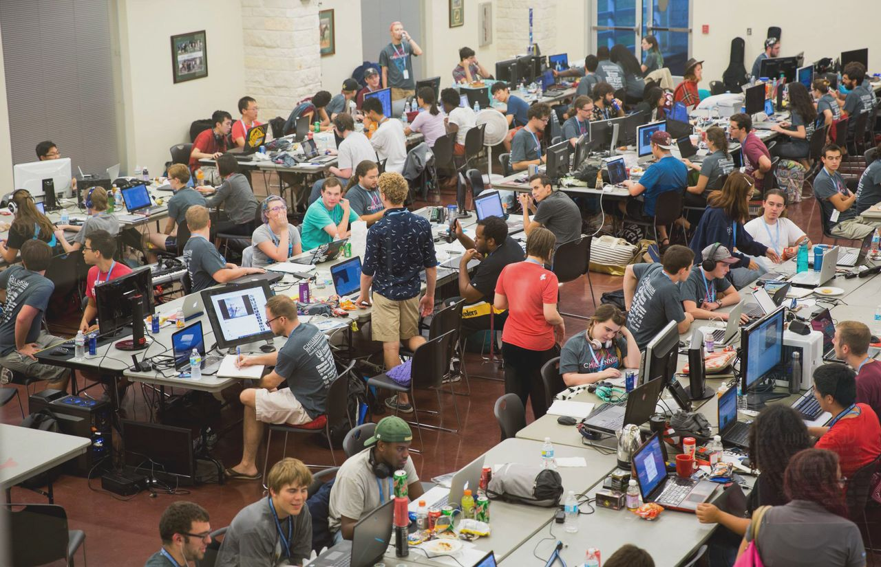 Students work at a Texas A&M-hosted game jam.