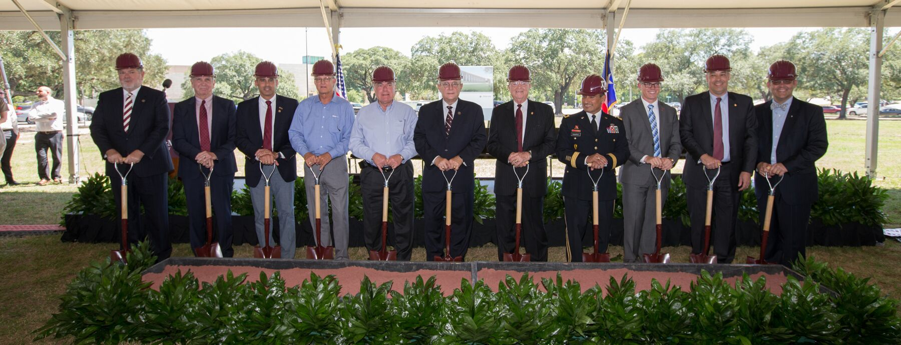 Many of the leaders who helped to make the new $40 million John D. White '70 – Robert L. Walker '58 Music Activities Center a reality at Texas A&M line up to break ground on the project.