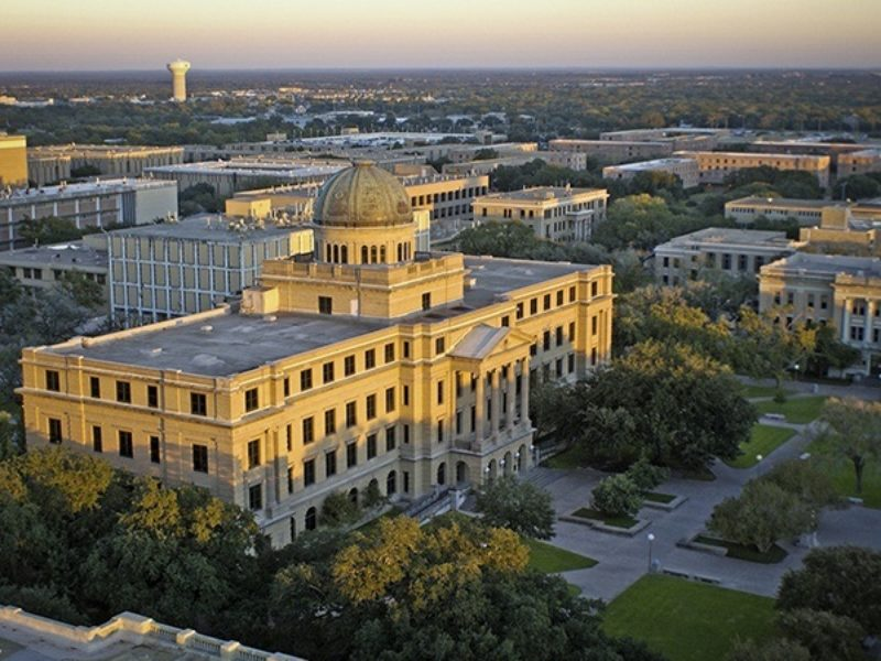 Arial picture of the academic building from the north side