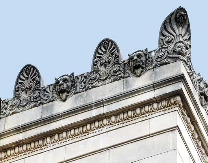 Gargoyles along the roof of the Jack K. Williams Building
