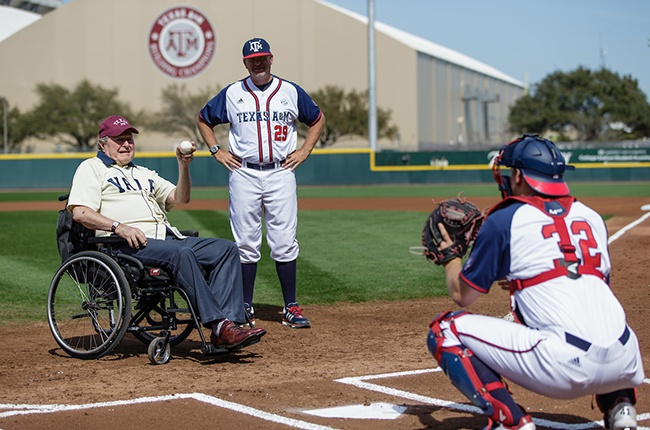 President throws out the ceremonial first pitch before a baseball game between Texas A&M and his alma mater, Yale, in 2016.