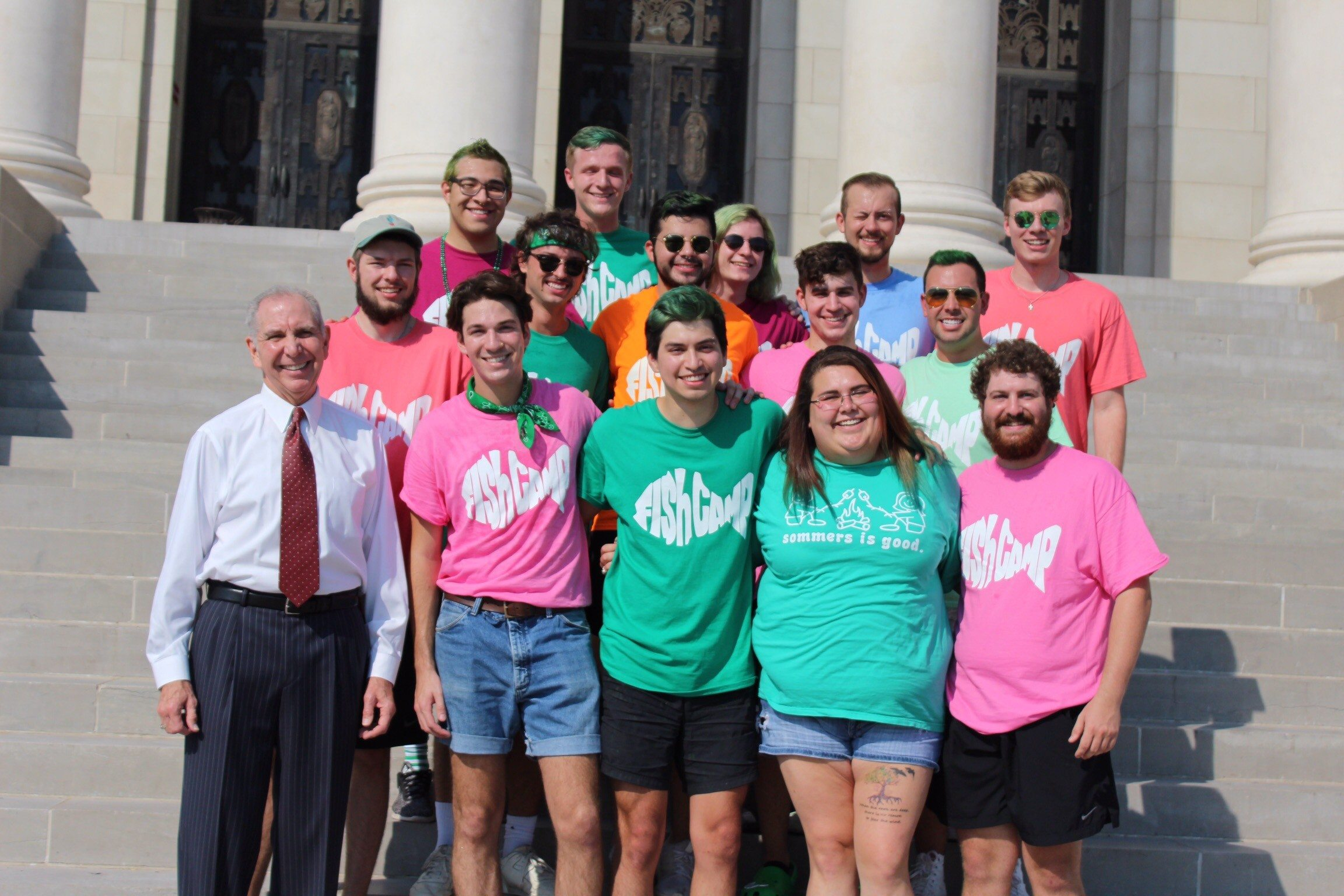 Texas A&M University President Michael K. Young visited a group of Fish Camp Counselors.