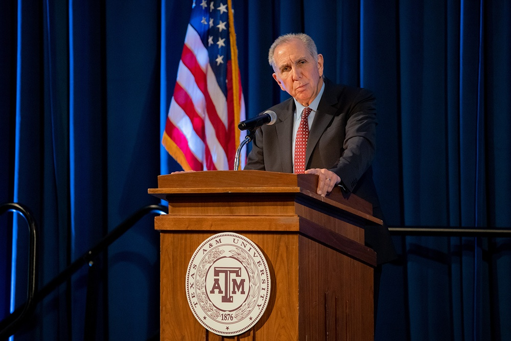 President Michael K. Young delivers the State of the University address. (Mark Guerrero/Texas A&M Marketing & Communications)