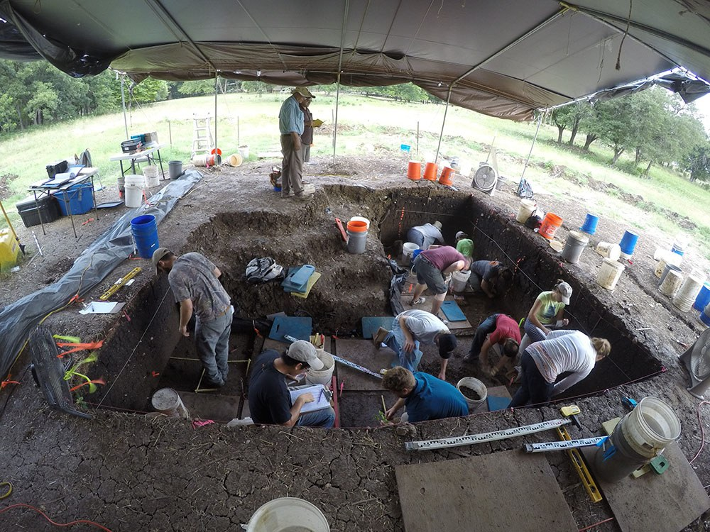 Excavation takes place at the Debra L. Friedkin site in 2016.