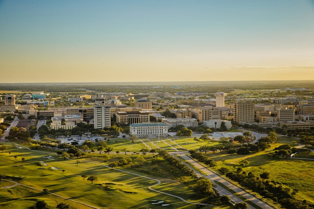 Aerial view of the campus of Texas A&M University. (Texas A&M Marketing & Communications)